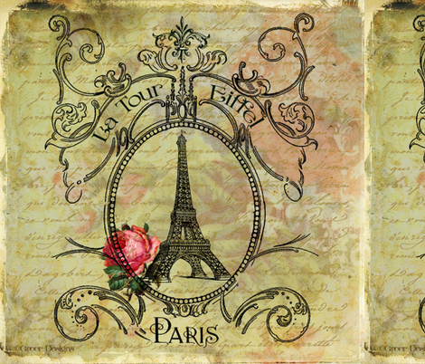 Eiffel Tower & Red Rose Steampunk fabric by greerdesign on Spoonflower - custom fabric