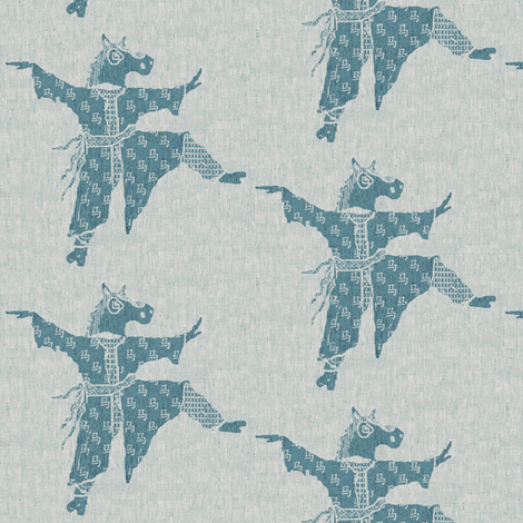 Horse Dancer - blue ink fabric by materialsgirl on Spoonflower - custom fabric