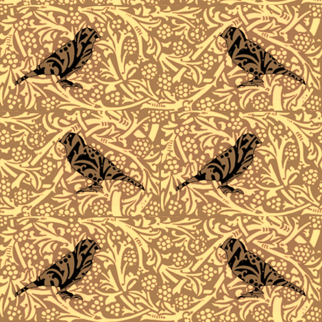 Bird Songs 21 - Duet in Sepia fabric by dovetail_designs on Spoonflower - custom fabric