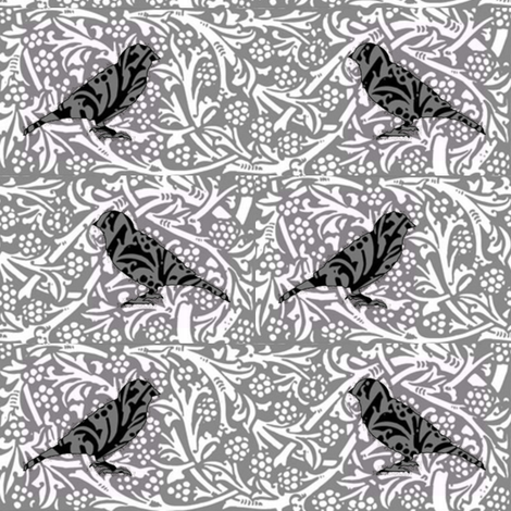 Bird Songs 22 - Duet in Black and White Damask fabric by dovetail_designs on Spoonflower - custom fabric