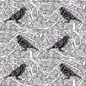 Bird Songs 22 - Duet in Black and White Damask