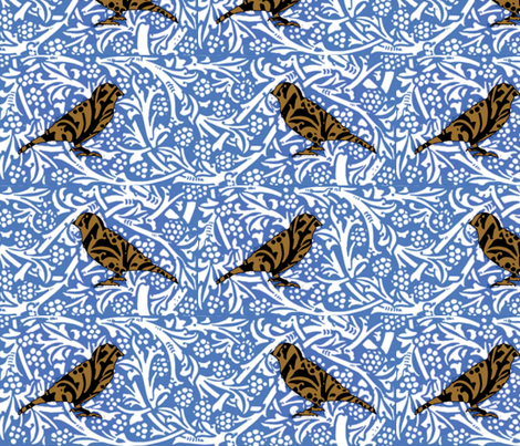 Bird Songs 23 - Duet: Singing The Blues fabric by dovetail_designs on Spoonflower - custom fabric