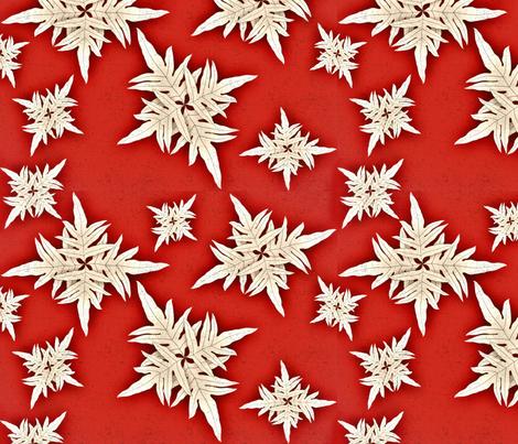 Snowflakes Hawaiian Style Lauae fern fabric by waiomaotiki on Spoonflower - custom fabric