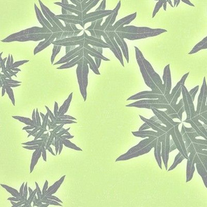 Hawaiian Quilt design light greens