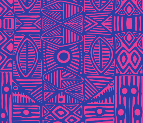 Tiki Fuschia fabric by flyingfish on Spoonflower - custom fabric