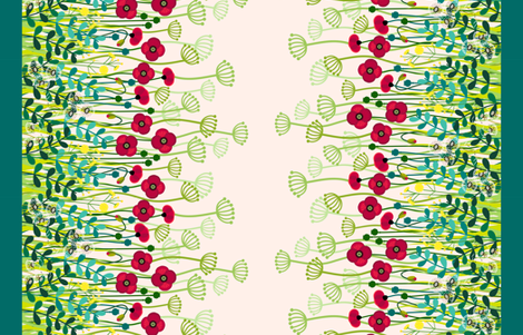 "meadow flowers poppy border - double 56"" fabric by coggon_(roz_robinson) on Spoonflower - custom fabric"