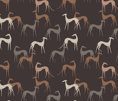 Sighthounds brown fabric by lobitos on Spoonflower - custom fabric