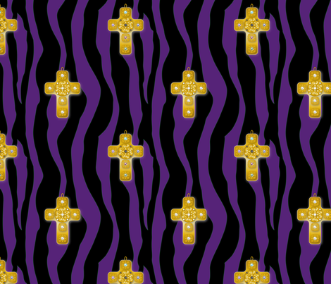 Fabric_Baroque_Cross_purple fabric by vannina on Spoonflower - custom fabric