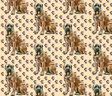 mastiff_with_pawprints fabric by dogdaze_ on Spoonflower - custom fabric