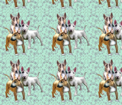 Bull Terriers and Flowers fabric by dogdaze_ on Spoonflower - custom fabric