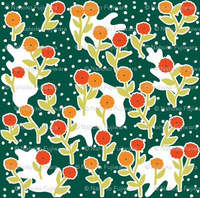 matisse's winter garden - dark green, orange