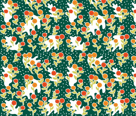 matisse's winter garden - dark green, orange fabric by gingerme on Spoonflower - custom fabric