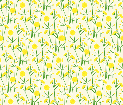 Buttercups - cream fabric by coggon_(roz_robinson) on Spoonflower - custom fabric
