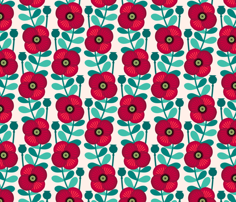 Poppy stem - pale wheat fabric by coggon_(roz_robinson) on Spoonflower - custom fabric