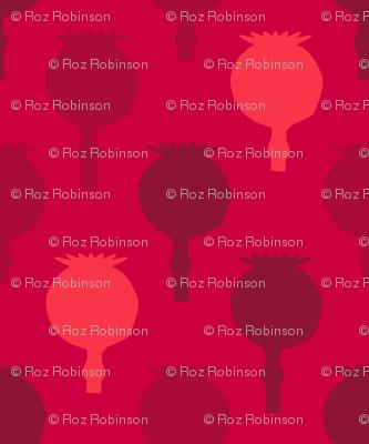 Polka poppy pods - red