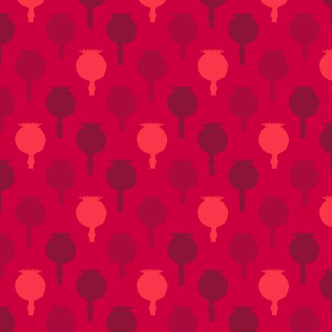 Polka poppy pods - red fabric by coggon_(roz_robinson) on Spoonflower - custom fabric