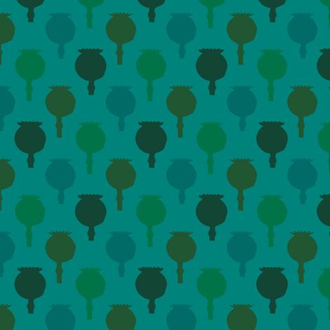 Polka poppy pods - teal fabric by coggon_(roz_robinson) on Spoonflower - custom fabric