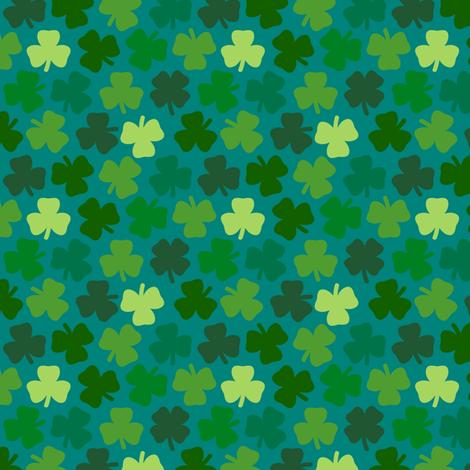Lucky four leaf clover - teal fabric by coggon_(roz_robinson) on Spoonflower - custom fabric