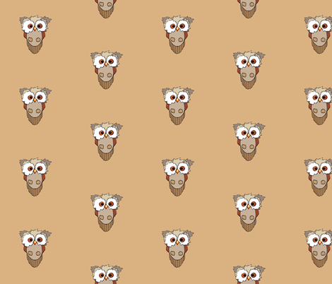 owl brown fabric by golders on Spoonflower - custom fabric