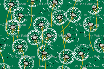 Fanciful flight - make a dandelion wish! - dark green