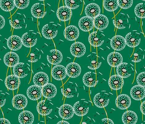 Fanciful flight - make a dandelion wish! - dark green fabric by coggon_(roz_robinson) on Spoonflower - custom fabric