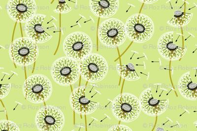 Fanciful flight - make a dandelion wish! - pale green