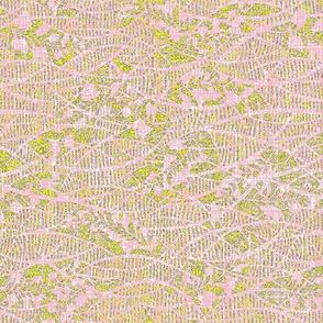 Soft fern - pink lace, yellow green, lavender.  Wedding