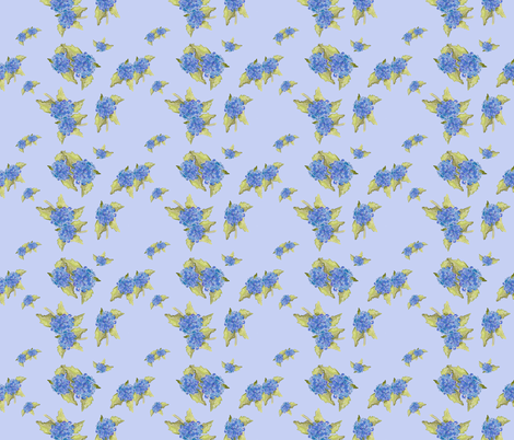 Blue Hydrangea Pattern fabric by aftermyart on Spoonflower - custom fabric