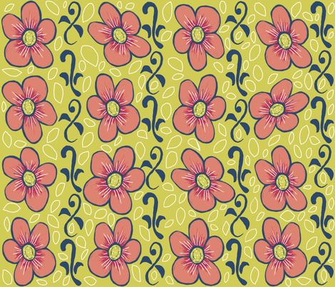 Matisse flowers and vines ©indigodaze2012 fabric by indigodaze on Spoonflower - custom fabric