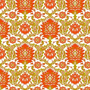Cynthia Damask, Orange / Mustard Yellow
