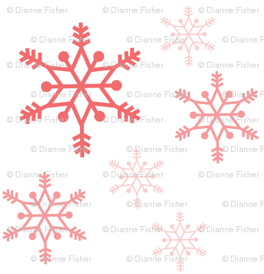 Snowflakes - coral on white