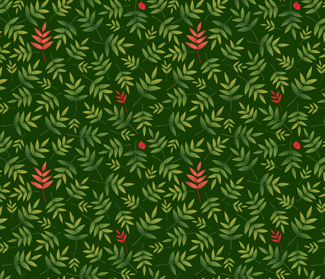 Nandina leaves-DarkGreen fabric by melhales on Spoonflower - custom fabric