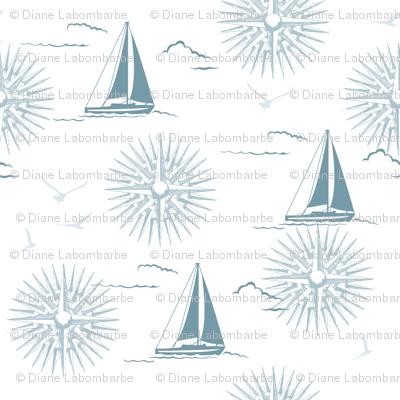 Winter Beach Collection - Sailboats & Compass Rose