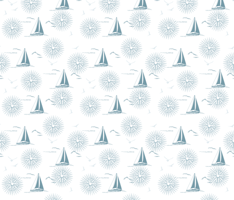 Winter Beach Collection - Sailboats & Compass Rose fabric by diane555 on Spoonflower - custom fabric