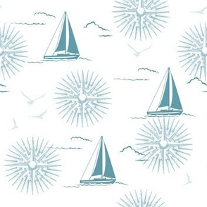 Winter Beach Collection - Sailboats & Compass Rose