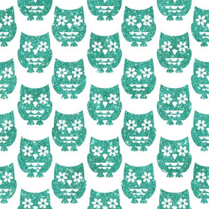Sparkle Owls- Turquoise