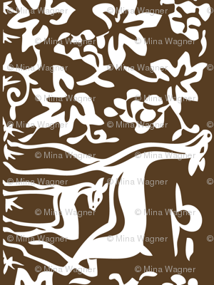 Arts & Crafts deer & grapes - vector - teatowel - dk brown-29