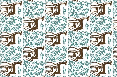 Arts & Crafts deer & grapes - reverse - vector - teatowel - dk brown-29 bluegreen-175 - white fabric by mina on Spoonflower - custom fabric