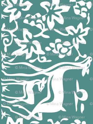 Arts & Crafts deer & grapes - vector - teatowel - bluegreen-175