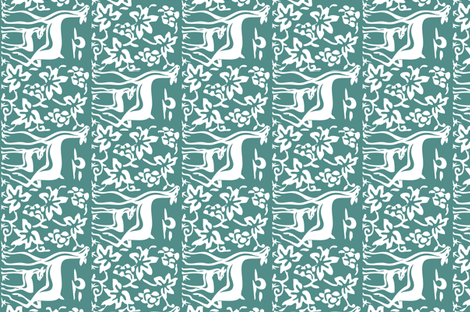 Arts & Crafts deer & grapes - vector - teatowel - bluegreen-175 fabric by mina on Spoonflower - custom fabric
