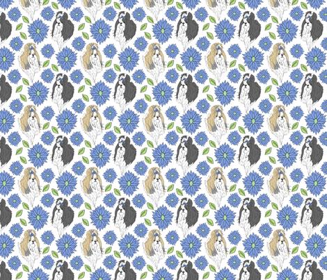 Shih Tzu and Chrysanthemum - blue fabric by rusticcorgi on Spoonflower - custom fabric