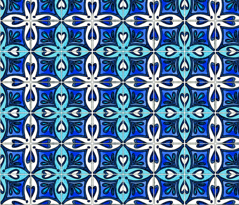 Tile Heart Blue fabric by martaharvey on Spoonflower - custom fabric