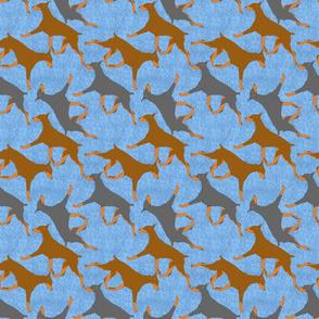 Trotting Dobies - blue