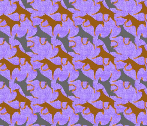Trotting Dobies - purple fabric by rusticcorgi on Spoonflower - custom fabric
