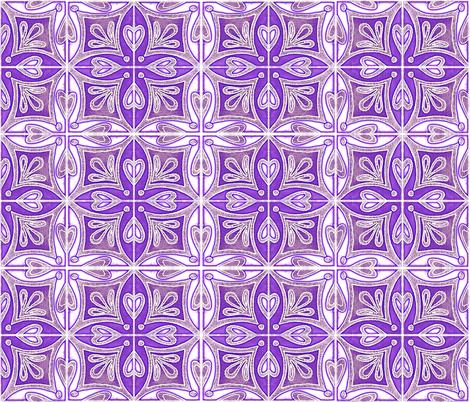 Tile Heart Purple Glow fabric by martaharvey on Spoonflower - custom fabric