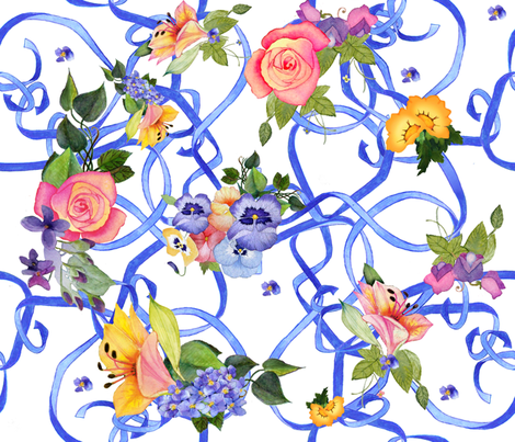 blue ribbons & blooms fabric by golders on Spoonflower - custom fabric