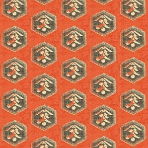 Kanji : red/orange, charcoal and cream