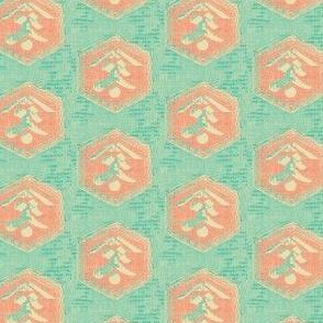Kanji - aqua, turquoise and pink coral