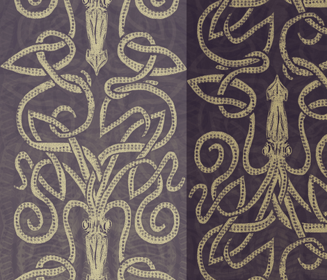 Kraken -purple and taupe fabric by wren_leyland on Spoonflower - custom fabric