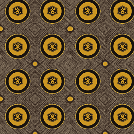 Kanji- Wood end grain, leather,  brown, charcoal, gold-ed fabric by materialsgirl on Spoonflower - custom fabric
